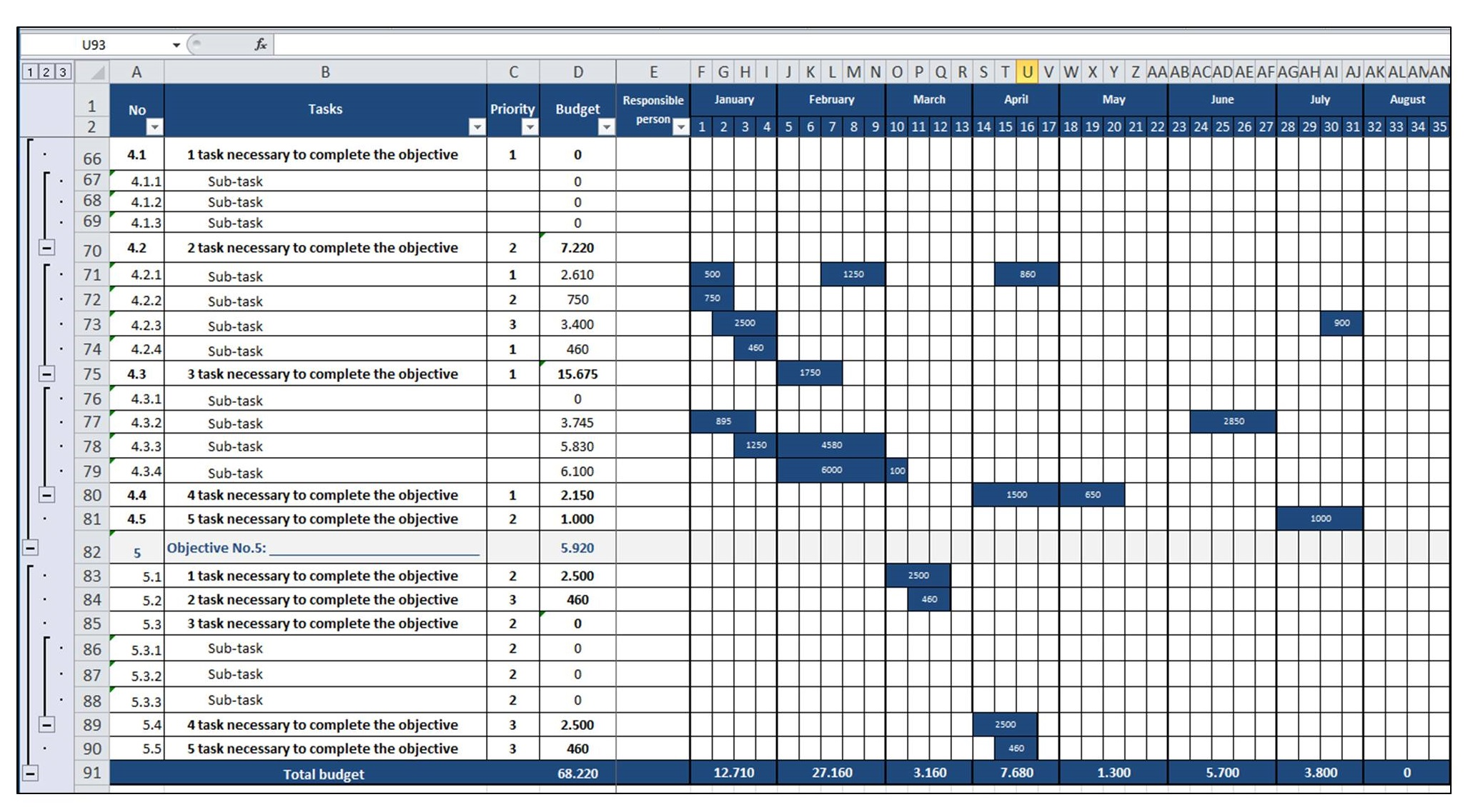 Marketing Plan - Gantt Diagram