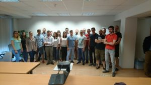 Technology Nation class in Kosice (Vratislav on right, red t-shirt)
