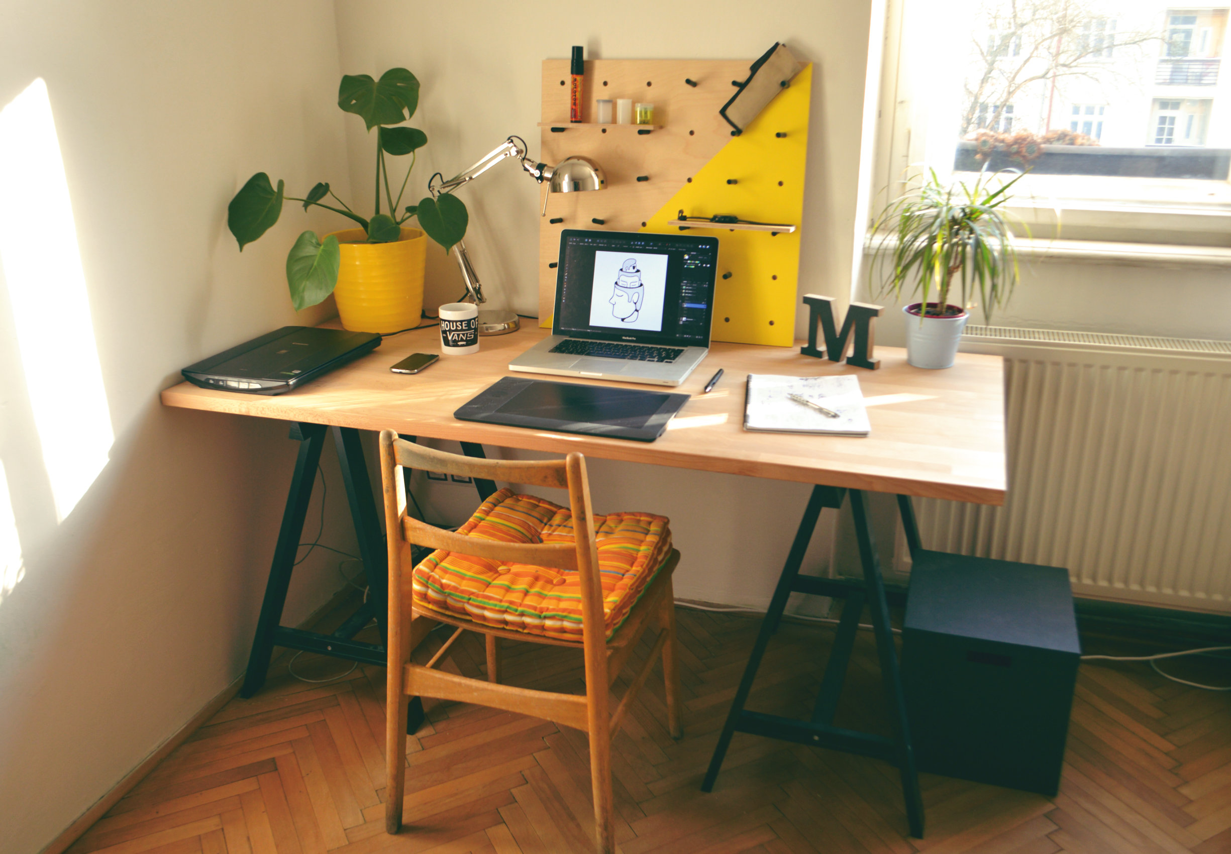 An illustrator's working desk